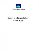 Lyons Hall  Managing Medicines Policy